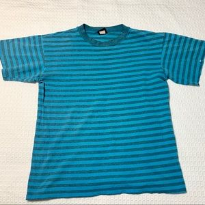 Vintage Striped Single Stitch Tee Size Large Blue